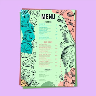 Modello di menu colorato ristorante