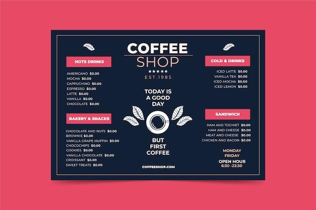 Modello di menu concetto di caffè