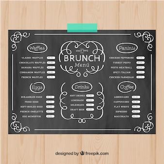 Modello di menu del brunch in stile gesso