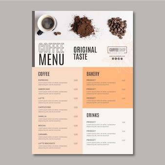 Modello di menu del caffè