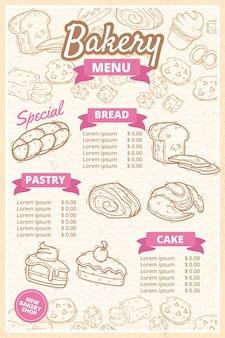 Modello di menu del negozio di panetteria