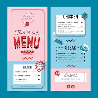 Modello di menu del ristorante blu e rosa