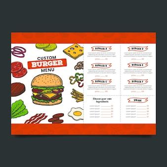 Modello di menu del ristorante burger