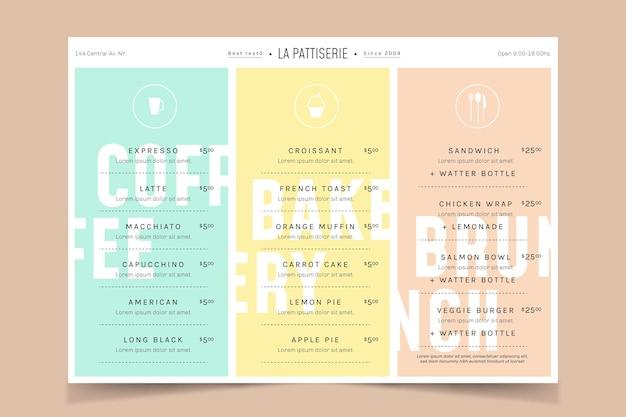 Modello di menu del ristorante color pastello