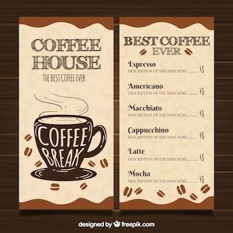 Modello di menu del ristorante con caffetteria