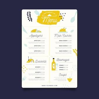 Modello di menu del ristorante con dessert