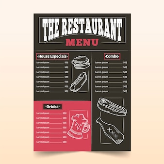 Modello di menu del ristorante con disegni
