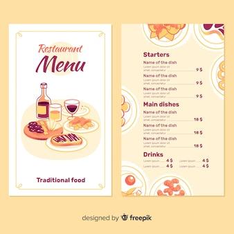Modello di menu del ristorante con elementi disegnati a mano