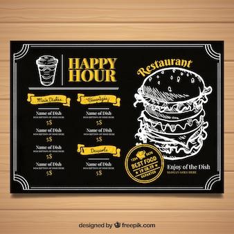 Modello di menu del ristorante con fast food