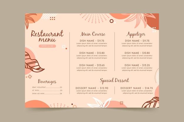 Modello di menu del ristorante con foglie