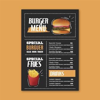 Modello di menu del ristorante con hamburger