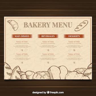 Modello di menu del ristorante con lista dei prodotti da forno