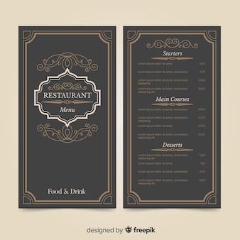 Modello di menu del ristorante con ornamenti eleganti