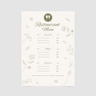 Modello di menu del ristorante con ornamenti floreali