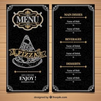 Modello di menu del ristorante con pizza