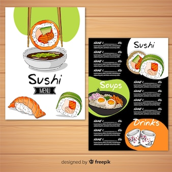 Modello di menu del ristorante con sushi