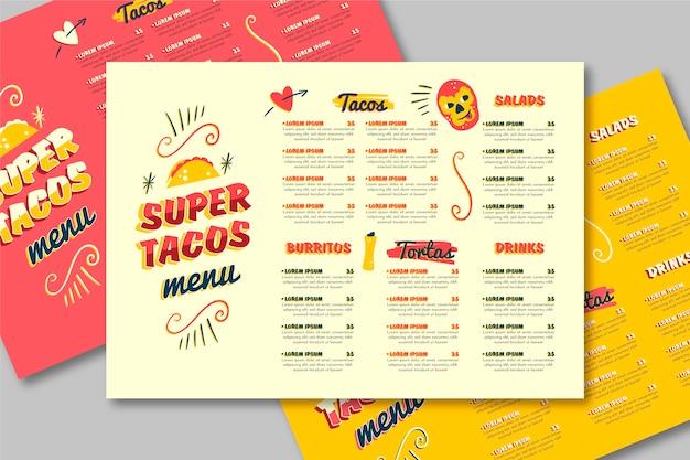 Modello di menu del ristorante con tacos