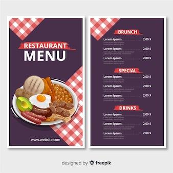 Modello di menu del ristorante con un piatto