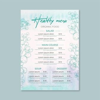 Modello di menu del ristorante dell'acquerello