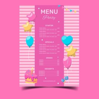 Modello di menu del ristorante di buon compleanno