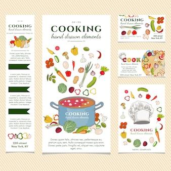 Modello di menu del ristorante di cucina