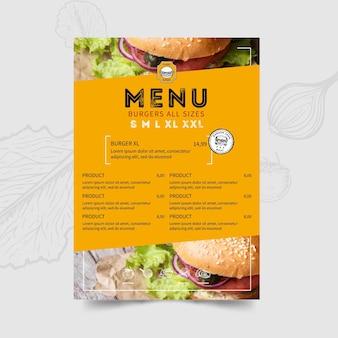 Modello di menu del ristorante di hamburger