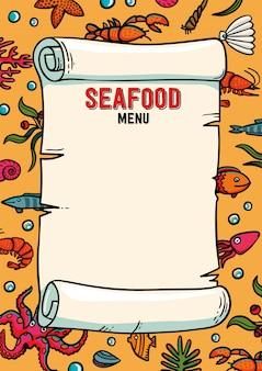 Modello di menu del ristorante di pesce nello stile del fumetto.