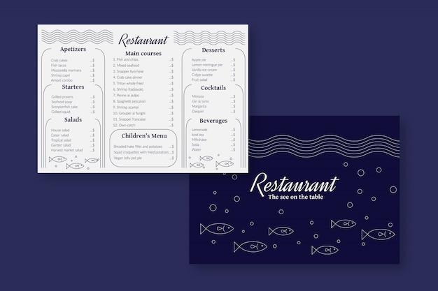 Modello di menu del ristorante di pesce