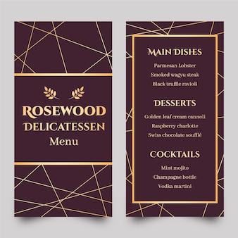 Modello di menu del ristorante dorato