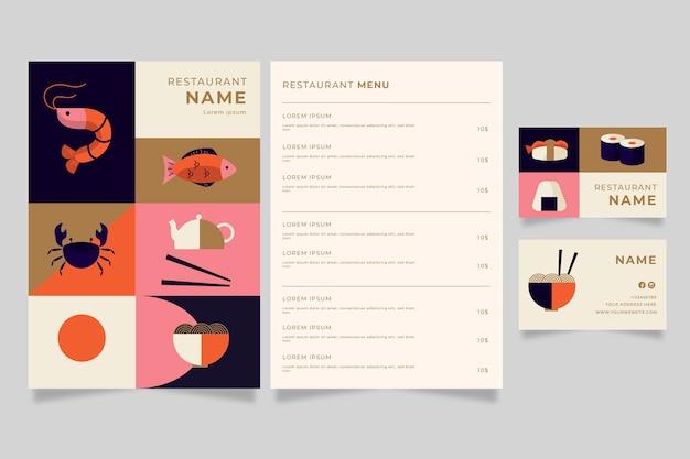 Modello di menu del ristorante e biglietto da visita
