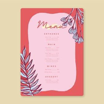 Modello di menu del ristorante in design colorato