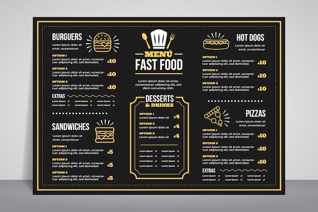 Modello di menu del ristorante in formato orizzontale per piattaforma digitale