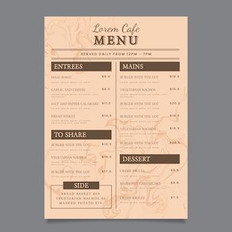 Modello di menu del ristorante in marmo