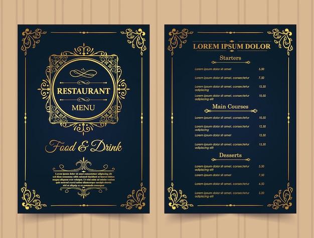 Modello di menu del ristorante in oro.