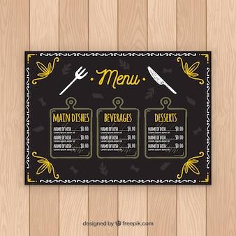 Modello di menu del ristorante in stile lavagna