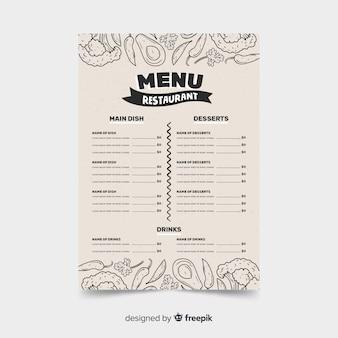 Modello di menu del ristorante in stile retrò con schizzi di cibo