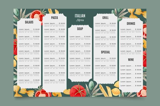 Modello di menu del ristorante italiano digitale