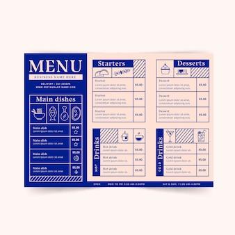 Modello di menu del ristorante minimalista