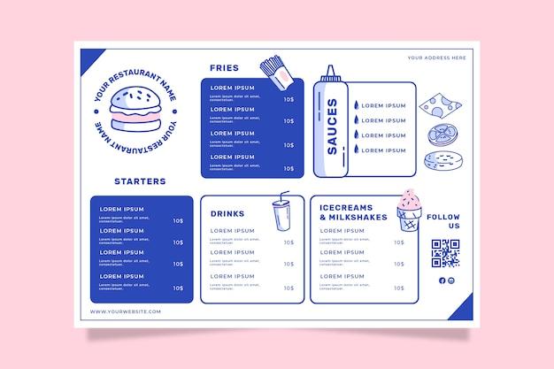 Modello di menu del ristorante per fast food