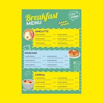 Modello di menu del ristorante per la colazione