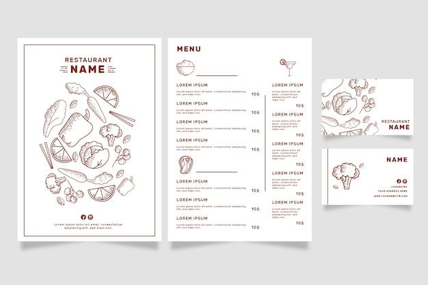 Modello di menu del ristorante per negozio vegano