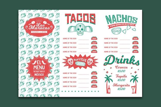 Modello di menu del ristorante per tacos