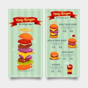 Modello di menu del ristorante piatto per hamburger fast food e bevande