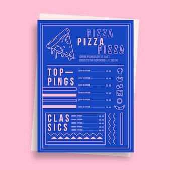 Modello di menu del ristorante pizza