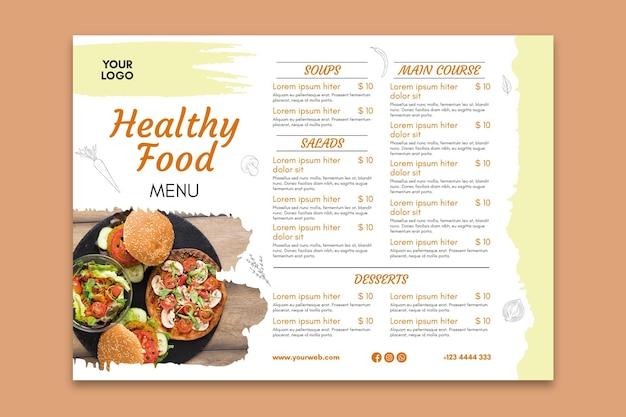 Modello di menu del ristorante sano
