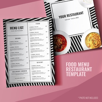 Modello di menu del ristorante semplice stampa minimalista