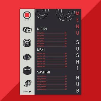 Modello di menu del ristorante sushi hub
