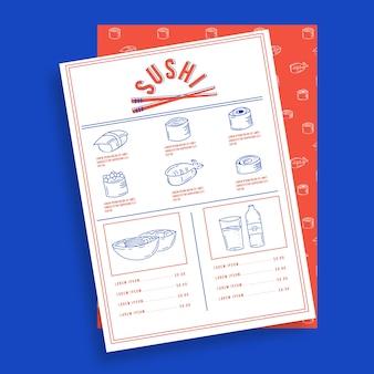 Modello di menu del ristorante sushi