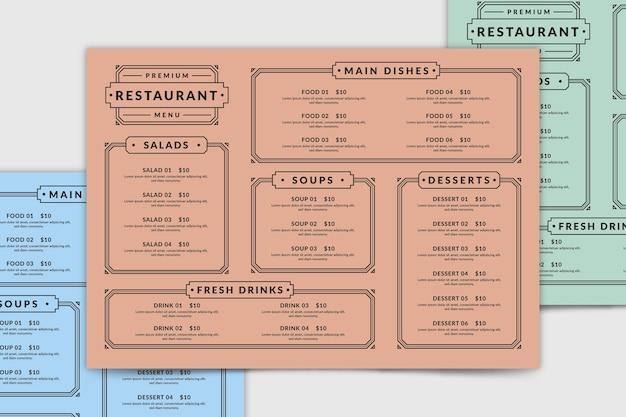 Modello di menu del ristorante vista dall'alto