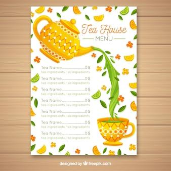 Modello di menu del tè con design piatto